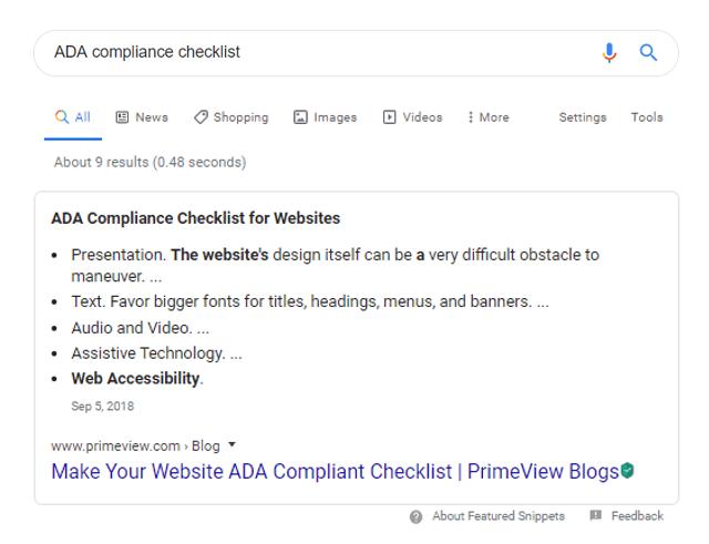 ADA Compliance Checklist Search Result